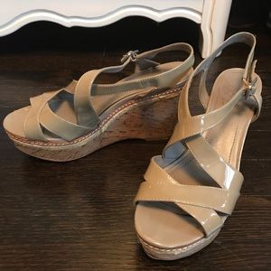 Vince Camuto Patent Leather Cork Wedge Sandal
